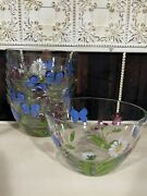"""Lenox Hand Painted Glass 5"""" Bowls8 - Butterflies And Blossoms Pattern"""