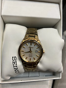 Pre Owned Seiko Sut130 Solar Gold Tone White Mother Of Pearl Dial Womens Dress W