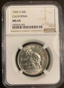 U.s. 1925-s California Half-dollar Silver Uncirculated Coin Certified Ngc-ms64