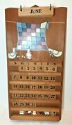 Vintage Perpetual Wall Calendar Wood Complete- Signed By The Artist