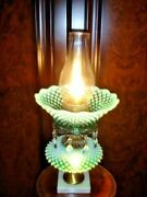 Fenton Green Hobnail Opalescent Glass Lamp, Old And Rare