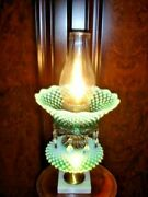 Fenton Green Hobnail Opalescent Glass Lamp Old And Rare