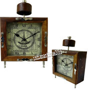 Vintage Style Decorative Collectible Table Wooden Clock Designer Gift