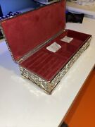 Vintage Antique Silver Plated Rectangle Jewelry Box Godinger Chrome Ring New Nib
