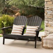 Wood Adirondack Loveseat Patio Sofa Garden Bench Wooden Seat Stained Acacia Wood