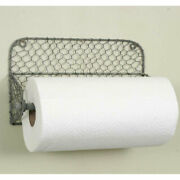 Rustic Wall Paper Towel Holder With Chicken Wire Country Farmhouse Kitchen