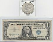 1889-p 1 Morgan Silver Dollar And 1957 1 Silver Certificate Star Note Lot