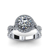 1.80 Ct Natural Diamond 14k Solid White Gold Engagement Ring Band Set Size 5 6 7