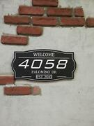 Modern House Numbers Sign Black Wood Engraved Address Plaque
