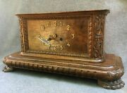 Large Antique French Art Deco Clock 1930's Woodwork Lion Paws Working 15lb