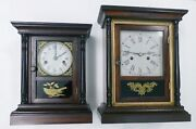 Antique Miniature Welch And Spring Co Column Cottage Clock-rosewood Case -best Off