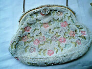 Vintage Glass Beaded Miniature Purse Bag Made In Belgium Special Occasion