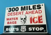 Vintage Route 66 Porcelain Gas Auto Stop General Store Skull Ice Diner Sign