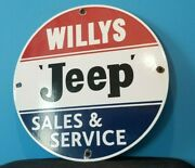 Vintage Willyand039s Jeep Porcelain Gas 4 Wheel Truck Service And Service Dealer Sign
