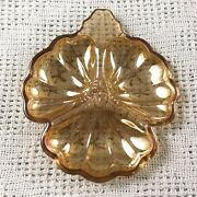 Orange Carnival Glass Relish Tray Floral Scalloped 3 Sections Vintage Marigold