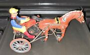 Antique German Tin Wind Up Arabian Sully Race Horse And Jockey Sulky Toy