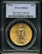 1924 20 Gold St. Gauden's Double Eagle Ms63 Pcgs 14157324 Rive D'or Collection