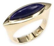 Ring Lapis Navette Yellow Gold 585 14kt Made In Germany
