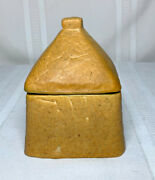 Grueby Pottery Very Rare Square Inkwell W Lid Ochre Curdled Glaze Arts Crafts