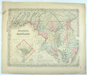 Antique 1855 Delaware And Maryland District Of Columbia J.h. Colton Engraved Map