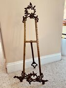 Antique Vintage Brass Book Easel Stand Bible Music Holder Tabletop 30 Inches