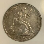 1858-o Errant Digits From Rock Mpd Wb-17 R-5 Seated Liberty 50c Ngc Au58