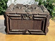 Antique Tramp Art Box Folk Art Dovetailed Early Find Many Layers