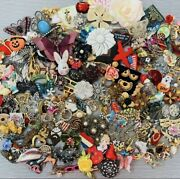Vintage To Modern Brooch Pin Lot Over 240 Pieces Mixed Metal Variety Of Styles