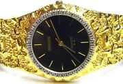 Mens Gruen 20 Real Diamonds Gold Plated Nugget Style Black Face Dress Watch