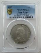 Pcgs Ms64+ Great Britain Uk 1887 Victoria Silver Coin 1/2 Crown Half Crown