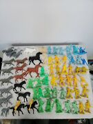 Vintage 1960's Plastic Cowboys And Indians - Lot Of 100 - Figures Hk Hong Kong