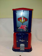 Vintage 1950's 1 Penny Cent Mobil Gumball Candy Peanut Vending Machine W/ Key