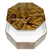 4 X 4 Inches Marble Trinket Box Overlay Work Brooches Box With Tiger Eye Stone