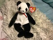 Ty Beanie Baby Fortune Panda Bear Retired 12/6/1997 Red Stamprare