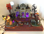 Super Rare Lemax Spooky Town Collection Display 14 Piece Animated Mausoleum Set