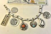 All Signed Frank Patania Six Charm Bracelet Sterling Silver W/turquoise Coral