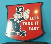 Vintage Ford Policeman Letand039s Take It Easy Metal Porcelain Auto Service Pump Sign