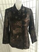 Womenand039s Erin London Large Coffee Brown Bronze Animal Print Button Up Coat
