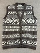 Ll Bean Knit Sweater Vest S Brown Ugly Christmas Button Up Coat Vtg