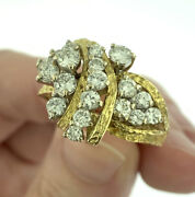 Vintage 2.25ctw Diamond Cluster Cocktail Ring 18k Yellow Gold Size 7.5 Very Fine