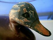 Collectible Vintage Solid Wood Duck Decoy 10.5 Long X 6 Carved Eyes-no Glass