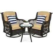 3 Piece Patio Set Outdoor Furniture Swivel Chairs Side Table Balcony Bistro New