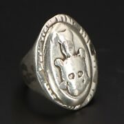 Vtg Sterling Silver - 1940and039s Antique Mexico Mexican Biker Ring Size 6.25 - 26g