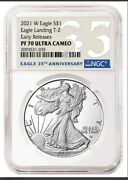 2021 W 1 Proof Silver Eagle Type 2 Eagle Ngc Pf70 Er 35th Anniversary Presale
