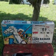 1978 Vintage Lone Ranger 11 Piece Rifle And Holster Playset Box Only No Contents