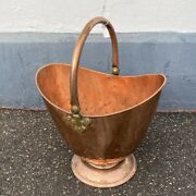 Early Victorian Copper Coal Scuttle, Helmet Shape With Hinged Handle, C. 1840