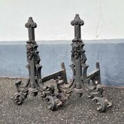 Pair Of Victorian Cast Iron Andirons / Fire Dogs Bearded Faces C. 1880