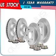 For 2013-2015 Acura Ilx Honda Civic Front + Rear Brake Pads And Rotors Discs Kit
