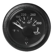 Veratron 52mm 2-1/16 Viewline Oil Temperature Gauge 120-300anddegf Black Dial And Bezl