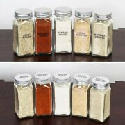 12/24/36x Glass Spice Jars 4oz Empty Square Spice Bottles Airtight With Lids Usa
